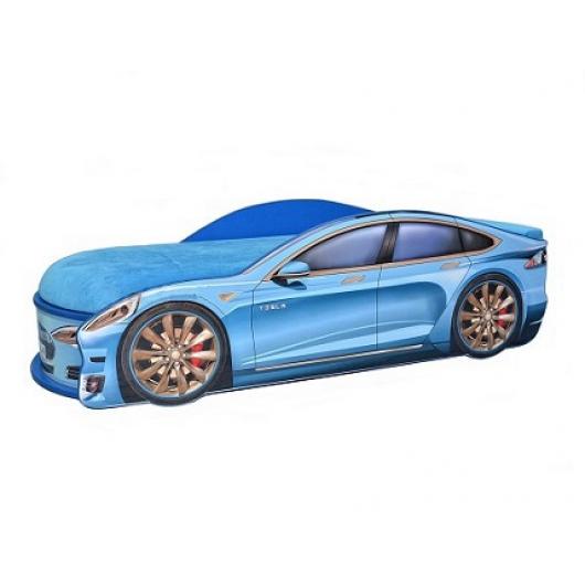 Кровать машина Tesla синяя 80х180 ДСП с подъемным механизмом