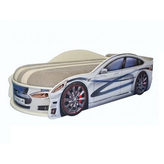 Кровать машина Tesla белая 70х150 ДСП с подъемным механизмом