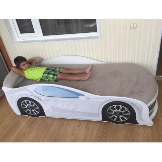 Кровать машина Audi белая 70х150 ДСП с подъемным механизмом - изображение 2 - интернет-магазин tricolor.com.ua