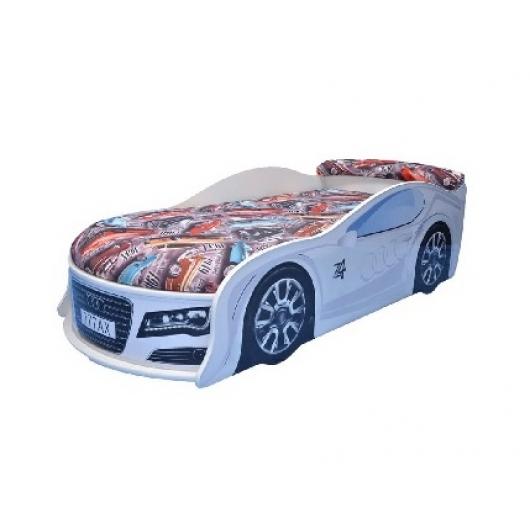 Кровать машина Audi белая 70х150 ДСП с подъемным механизмом - интернет-магазин tricolor.com.ua