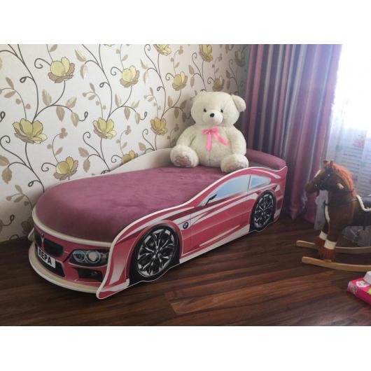 Кровать машина BMW розовая 70х150 ДСП с подъемным механизмом - изображение 2 - интернет-магазин tricolor.com.ua