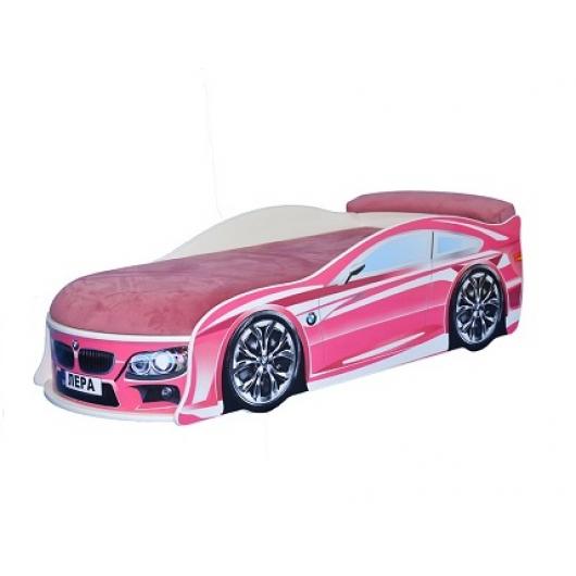 Кровать машина BMW розовая 70х150 ДСП с подъемным механизмом - интернет-магазин tricolor.com.ua