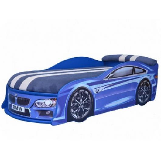 Кровать машина BMW синяя 80х180 ДСП с подъемным механизмом