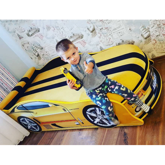 Кровать машина Camaro желтая 80х180 ДСП с подъемным механизмом - изображение 2 - интернет-магазин tricolor.com.ua