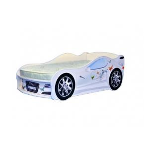 Кровать машина Jaguar для девочек 70х150 ДСП с подъемным механизмом