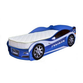 Кровать машина Jaguar полиция синяя 80х170 ДСП с подъемным механизмом