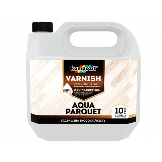 Лак паркетный полиуретановый Aqua Parquet Kompozit глянец - интернет-магазин tricolor.com.ua