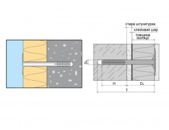 Дюбель для теплоизоляции с пластиковым гвоздем Амекс LI-P 10x120 - изображение 4 - интернет-магазин tricolor.com.ua