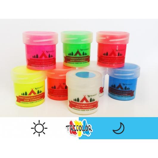Краска люминесцентная AcmeLight для туризма классик голубая 20мл