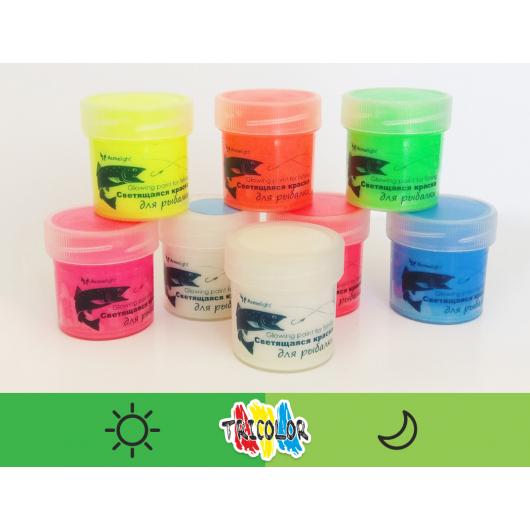 Краска люминесцентная AcmeLight для рыбалки зеленая 20мл - изображение 2 - интернет-магазин tricolor.com.ua