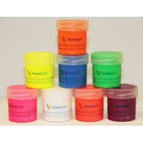 Набор флуоресцентных красок AcmeLight аквагрим для тела 8 шт по 20 мл