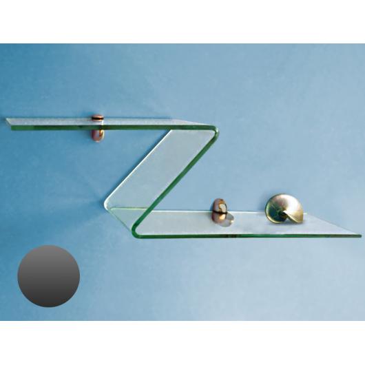 Стеклянная полка в форме Z графит сатин, без крепления (8/200 мм)