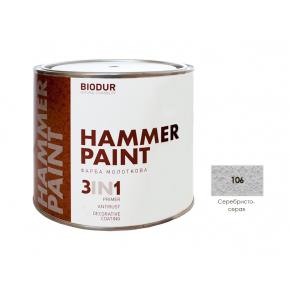 Антикоррозионная молотковая краска-грунт для металла Biodur 3 в 1, 106 Серебристо-серая - интернет-магазин tricolor.com.ua