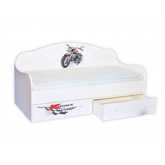 Кроватка диванчик Гонщик мотоциклист 80х170 ДСП