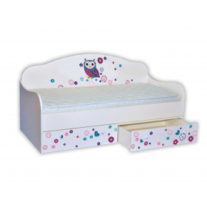 Кроватка диванчик Сова цветная 80х160 ДСП