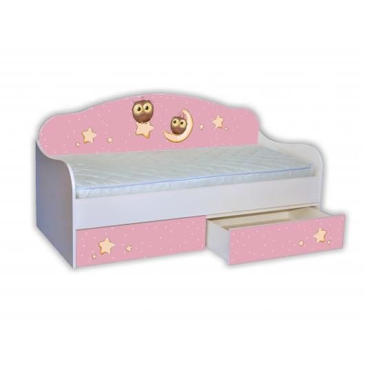 Кроватка диванчик Сова на розовом 80х190 ДСП