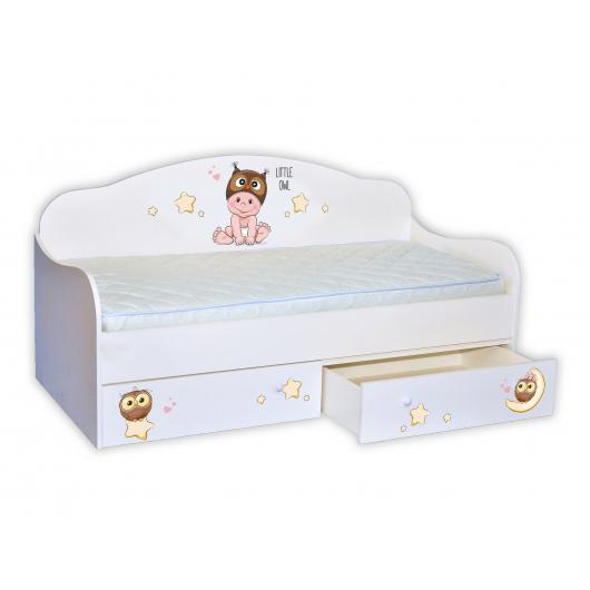 Кроватка диванчик Мальчик-совенок 80х160 ДСП