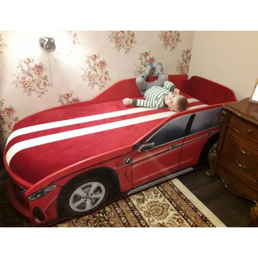 Кровать машина Джип BMW X5 красная 80х170 ДСП с подъемным механизмом - изображение 3 - интернет-магазин tricolor.com.ua