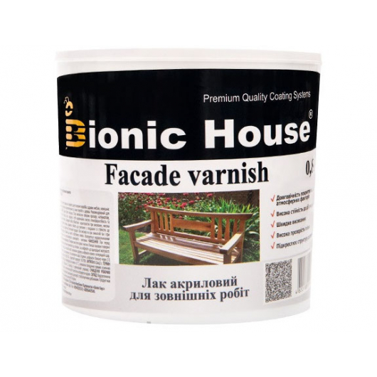 Лак водный для наружных работ Bionic House полуматовый Светлый дуб - интернет-магазин tricolor.com.ua