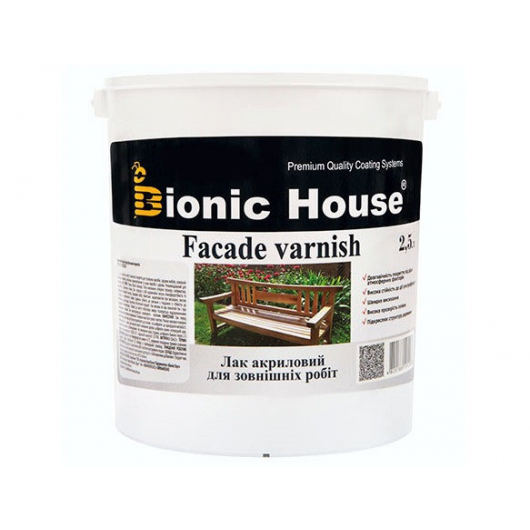 Лак водный для наружных работ Bionic House полуматовый Белый - изображение 2 - интернет-магазин tricolor.com.ua