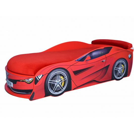 Кровать машина BMW Turbo красная 80х180 ДСП с подъемным механизмом матрас красный