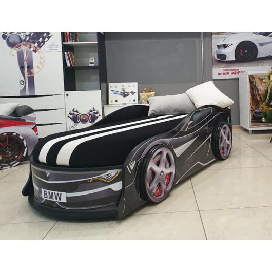 Кровать машина BMW Turbo черная 80х180 ДСП с подъемным механизмом матрас Спорт черный - изображение 2 - интернет-магазин tricolor.com.ua