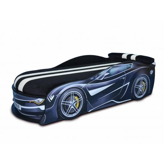 Кровать машина BMW Turbo черная 80х180 ДСП с подъемным механизмом матрас Спорт черный - интернет-магазин tricolor.com.ua