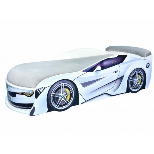 Кровать машина BMW Turbo белая 70х150 ДСП с подъемным механизмом матрас светло-серый