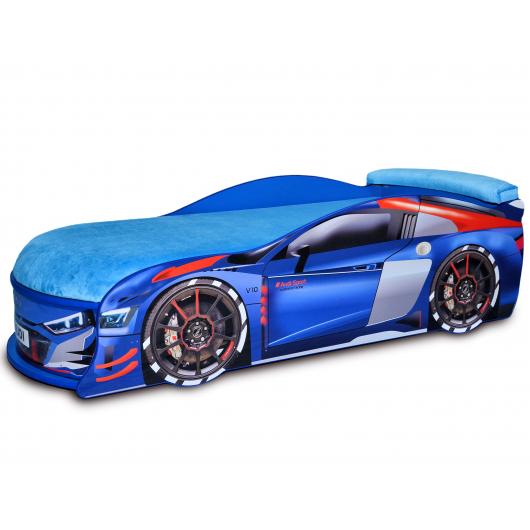 Кровать машина Audi Turbo синяя 80х180 ДСП без подъемного механизма матрас голубой