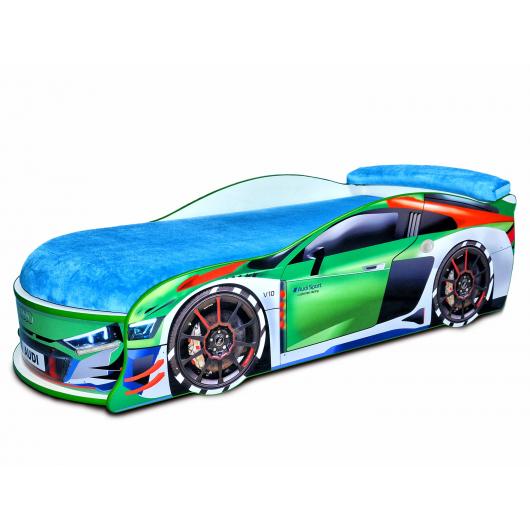 Кровать машина Audi Turbo зеленая 70х150 ДСП с подъемным механизмом матрас голубой