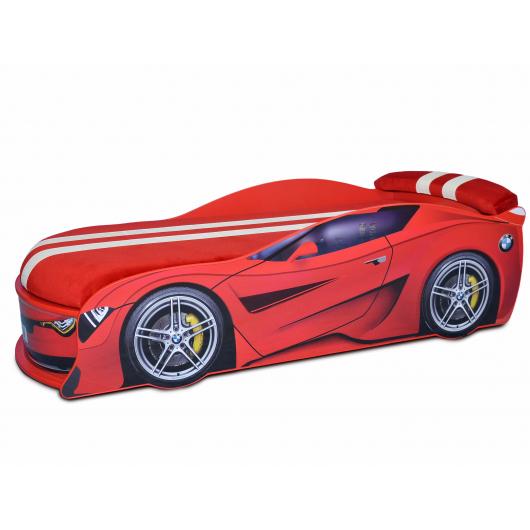 Кровать машина BMW Turbo красная 80х180 ДСП без подъемного механизма матрас Спорт красный - интернет-магазин tricolor.com.ua