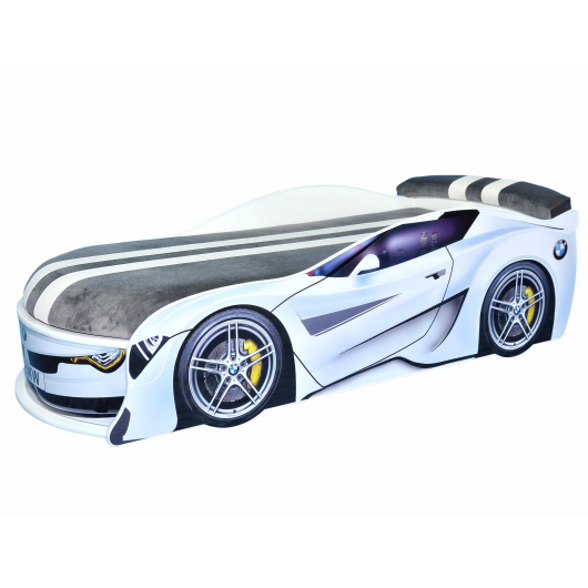 Кровать машина BMW Turbo белая 80х180 ДСП без подъемного механизма матрас Спорт темно-серый