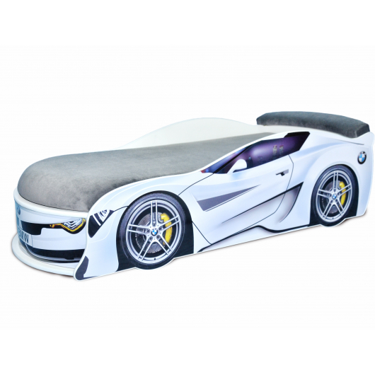 Кровать машина BMW Turbo белая 80х180 ДСП без подъемного механизма матрас темно-серый