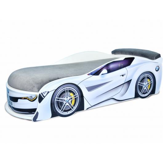 Кровать машина BMW Turbo белая 80х180 ДСП с подъемным механизмом матрас темно-серый