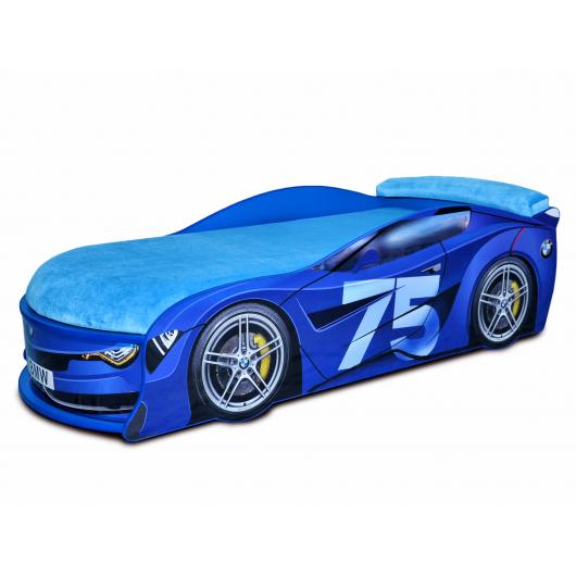 Кровать машина BMW Turbo синяя-75 80х180 ДСП без подъемного механизма матрас голубой