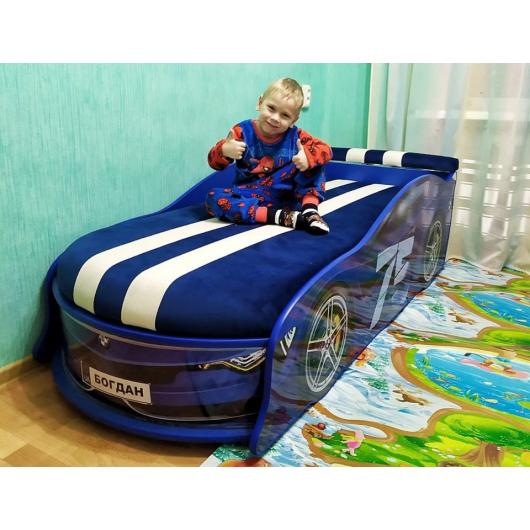 Кровать машина BMW Turbo синяя-75 70х150 ДСП с подъемным механизмом матрас Спорт синий - изображение 2 - интернет-магазин tricolor.com.ua