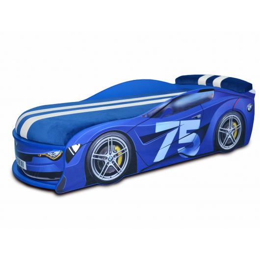 Кровать машина BMW Turbo синяя-75 80х180 ДСП без подъемного механизма матрас Спорт синий - интернет-магазин tricolor.com.ua