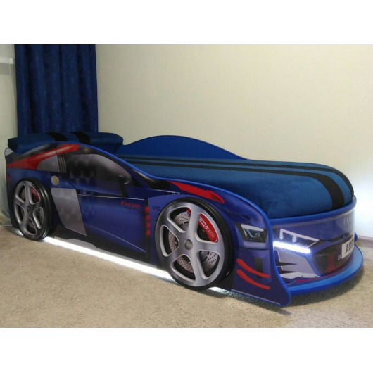Кровать машина Audi Turbo синяя 70х150 ДСП без подъемного механизма матрас Спорт синий - изображение 2 - интернет-магазин tricolor.com.ua