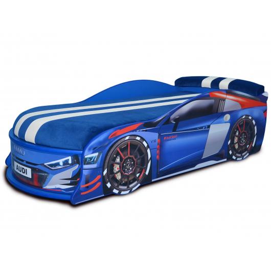 Кровать машина Audi Turbo синяя 80х180 ДСП с подъемным механизмом матрас Спорт синий - интернет-магазин tricolor.com.ua