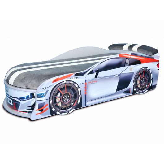 Кровать машина Audi Turbo серая 70х150 ДСП без подъемного механизма матрас Спорт темно-серый - интернет-магазин tricolor.com.ua