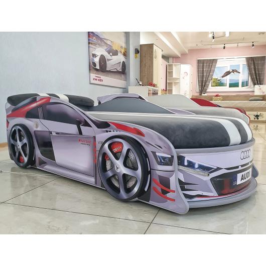 Кровать машина Audi Turbo серая 70х150 ДСП с подъемным механизмом матрас Спорт темно-серый - изображение 2 - интернет-магазин tricolor.com.ua