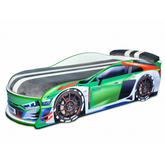 Кровать машина Audi Turbo зеленая 70х150 ДСП с подъемным механизмом матрас Спорт темно-серый