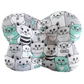 Подушка ортопедическая Viall Мятные коты для новорожденных 25х30