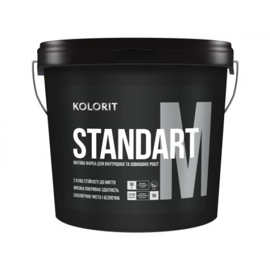 Краска стойкая к мытью Kolorit Standart M глубокоматовая база А белая