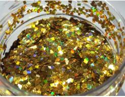 Купить Глиттер голографический ромб LA-200/2*2 мм золотой Tricolor - 7