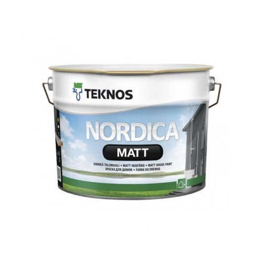 Водоразбавляемая акрилатная краска по дереву для наружных работ Teknos Nordica Matt матовая База1