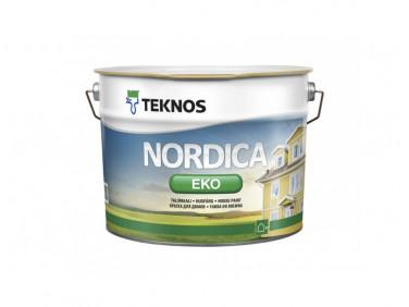 Водоразбавляемая акрилатная краска по дереву для наружных работ Teknos Nordica Eco глянцевая База3