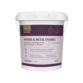 Акриловая эмаль Kolorit Wood and Metal Enamel для дерева и металла для наружных и внутренних работ полуматовая база А