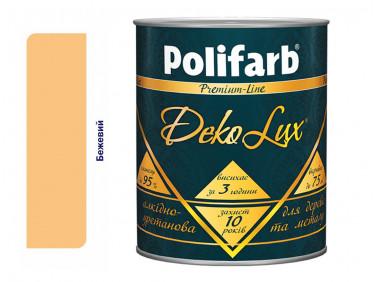 Алкидно-уретановая эмаль DekoLux для дерева и металла Polifarb глянцевая бежевая