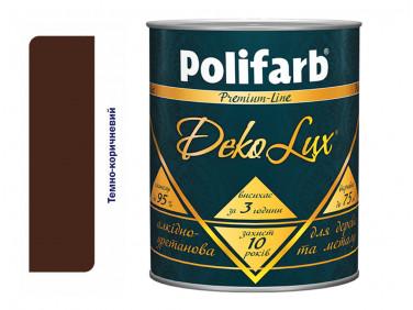 Алкидно-уретановая эмаль DekoLux для дерева и металла Polifarb глянцевая темно-коричневая